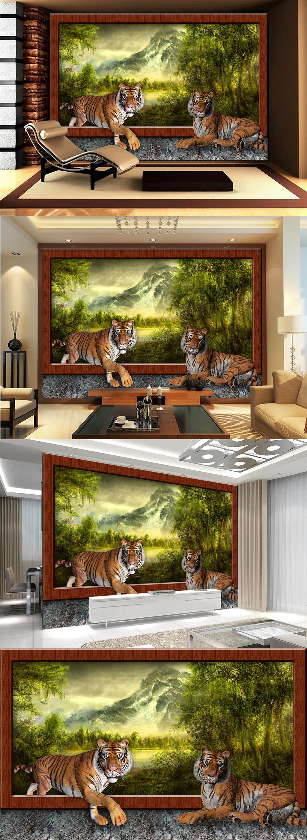 景色 老虎 动物 野生动物 树林 森林 树木 河流 山 高山 瀑布 相框