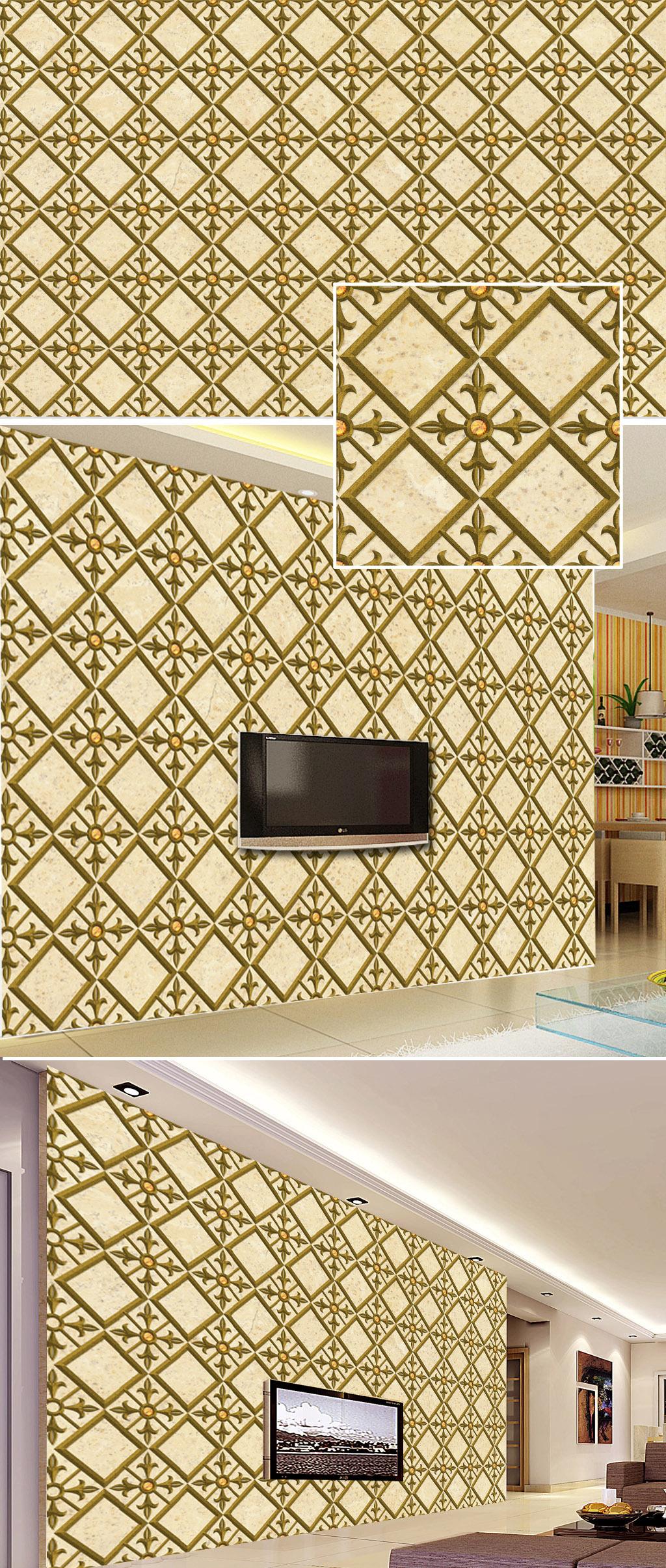 欧式浮雕立体花纹电视背景墙图片