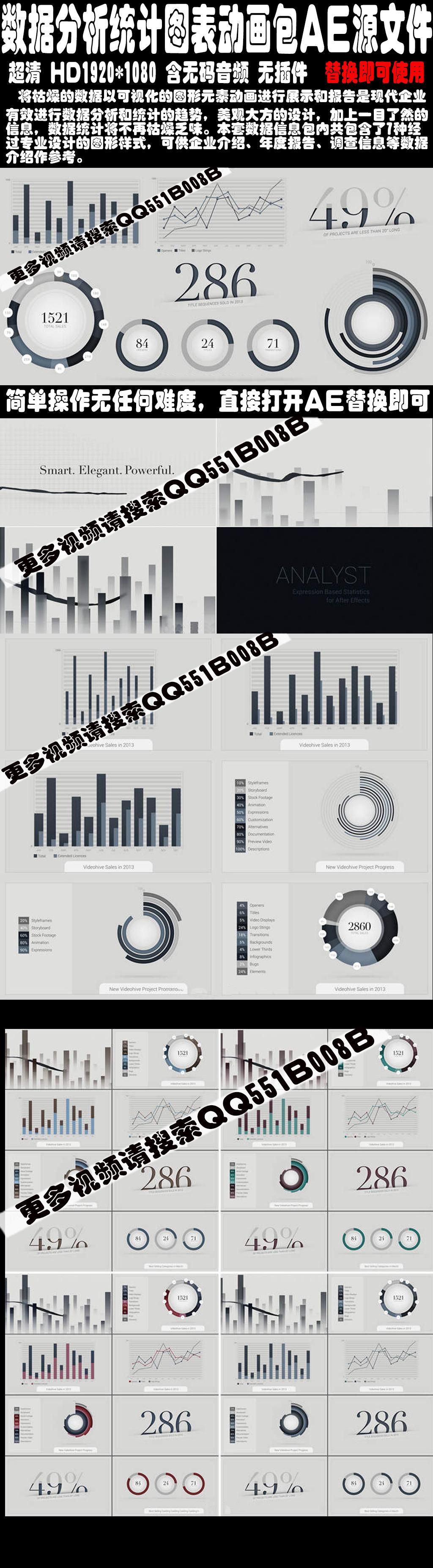 数据分析统计图表动画包ae源文件模板下载
