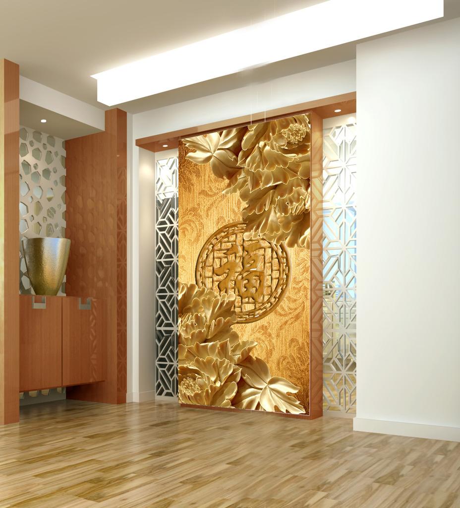 木雕牡丹福玄关背景墙