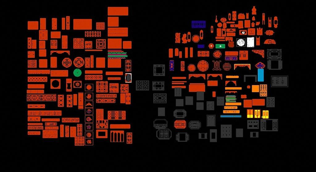 中式镂空雕花cad设计图