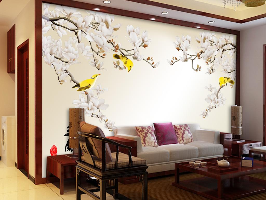 室内手绘墙 大花