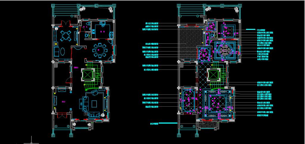 二层欧式风格别墅装修室内cad施工图纸