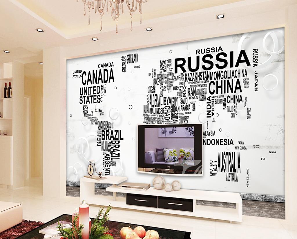数字地图3d客厅电视背景墙