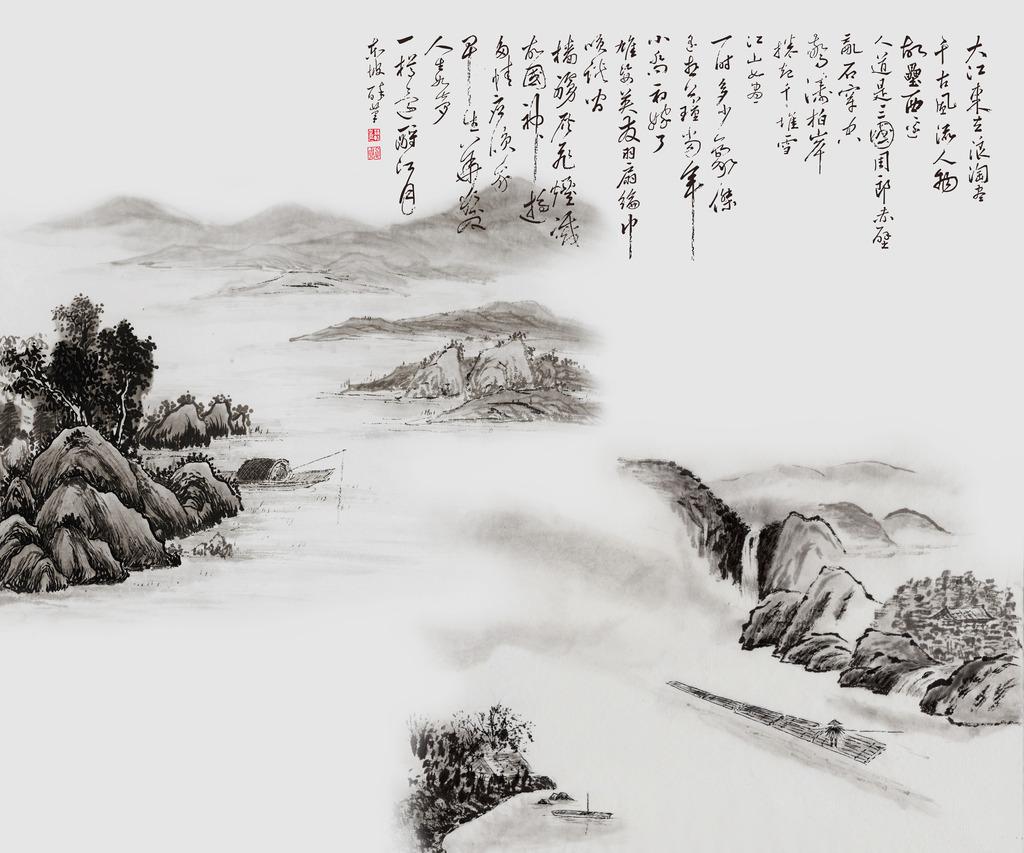 赤壁怀古中式电视背景墙模板下载