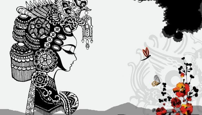 中式 戏曲人物剪影图片