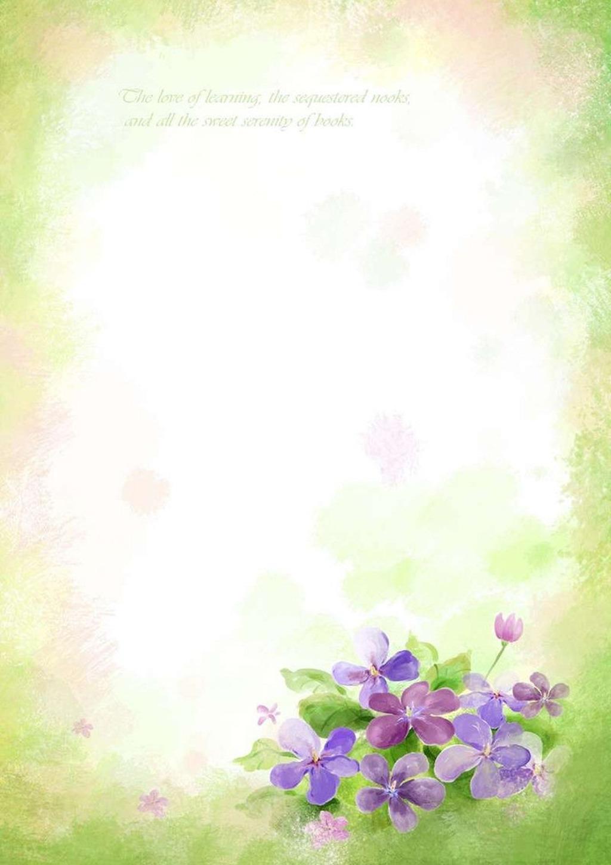 紫色 花朵 树叶 清新 梦幻 绿色背景 信纸模板 信纸下载 背景图 word图片