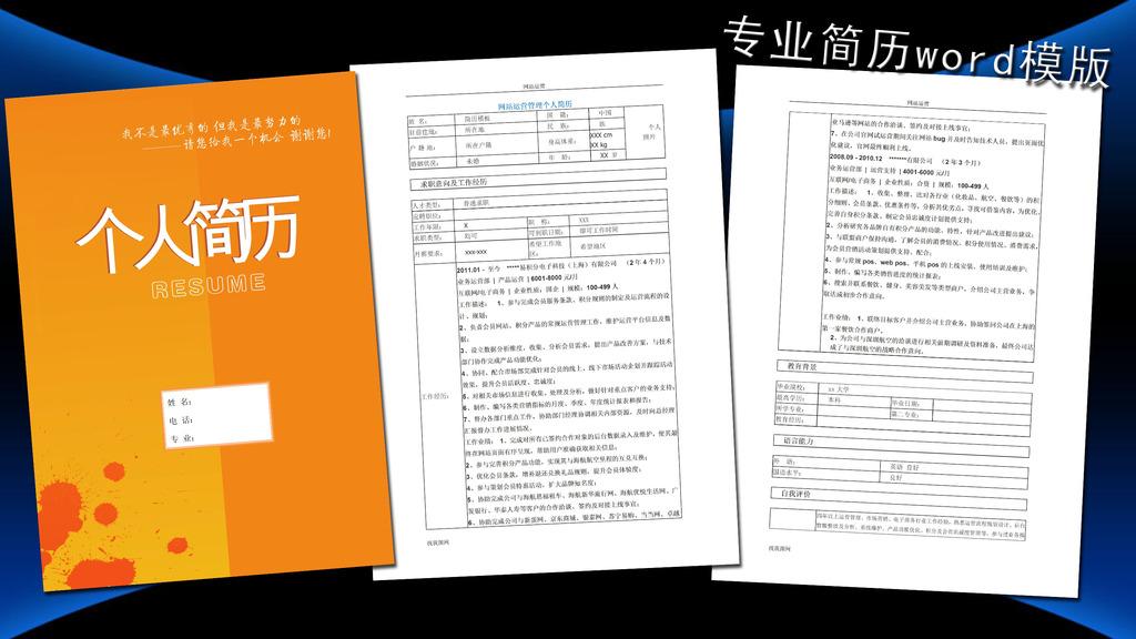 网站运营简历模板word下载