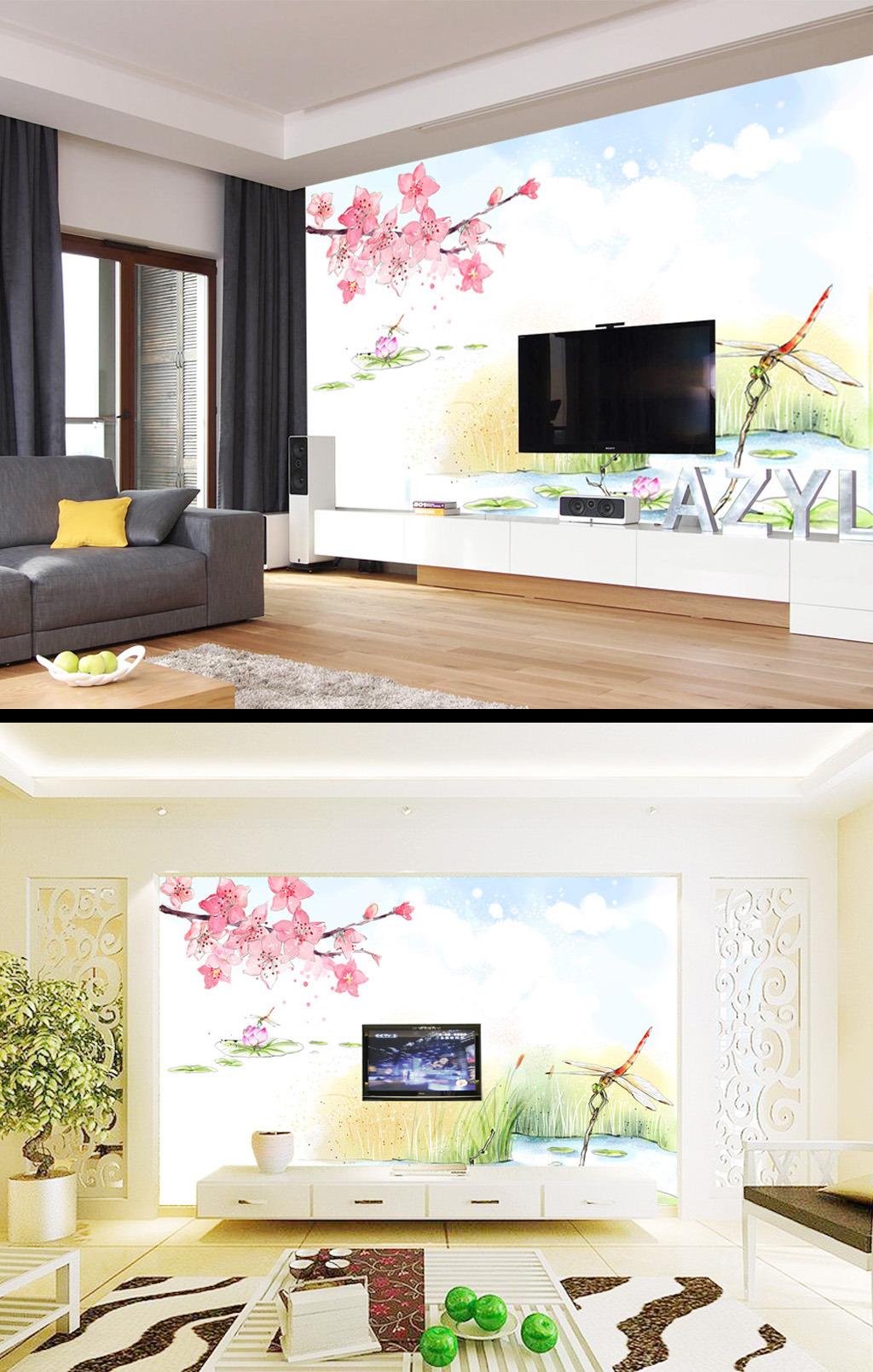 手绘荷塘花卉电视背景墙