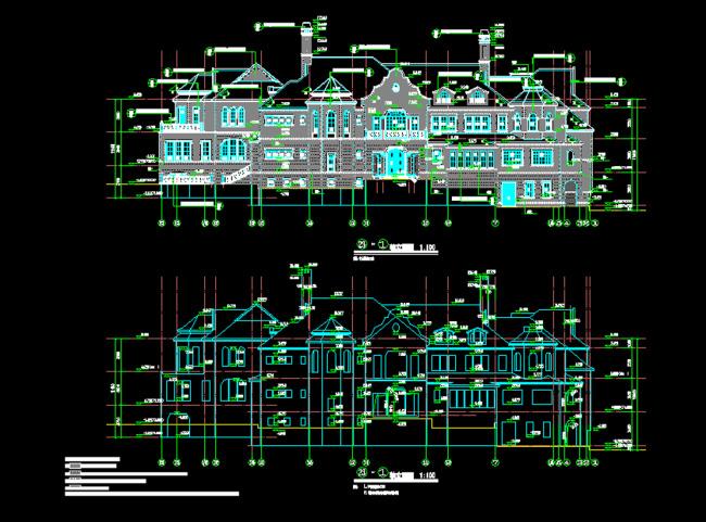 二层别墅建筑设计 欧式别墅办公楼cad图纸