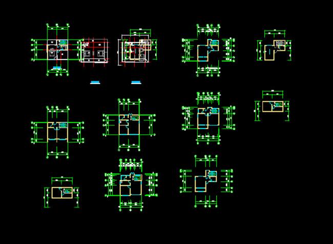 独栋别墅户型cad图纸模板下载(图片编号:12253471)