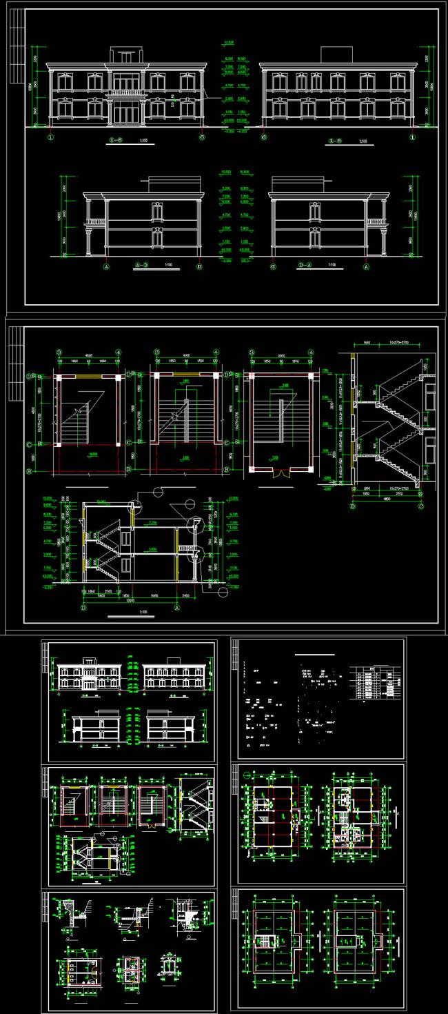 办公楼建筑全套图cad图纸模板下载