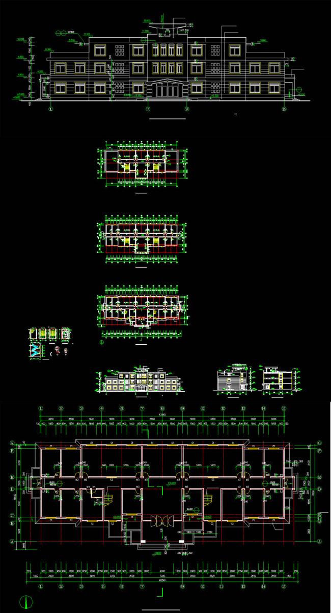 三层办公楼建筑方案图cad图纸模板下载
