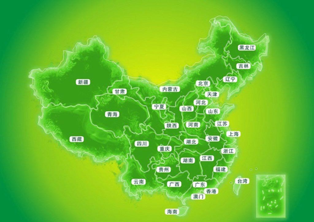 绿色中国地图矢量模板