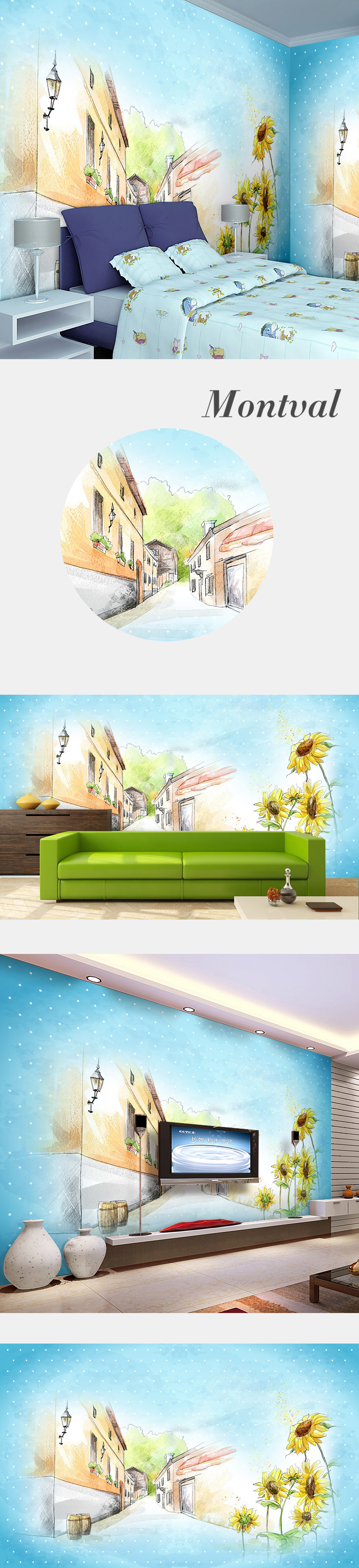梦幻插画手绘艺术幼儿园装饰画背景墙