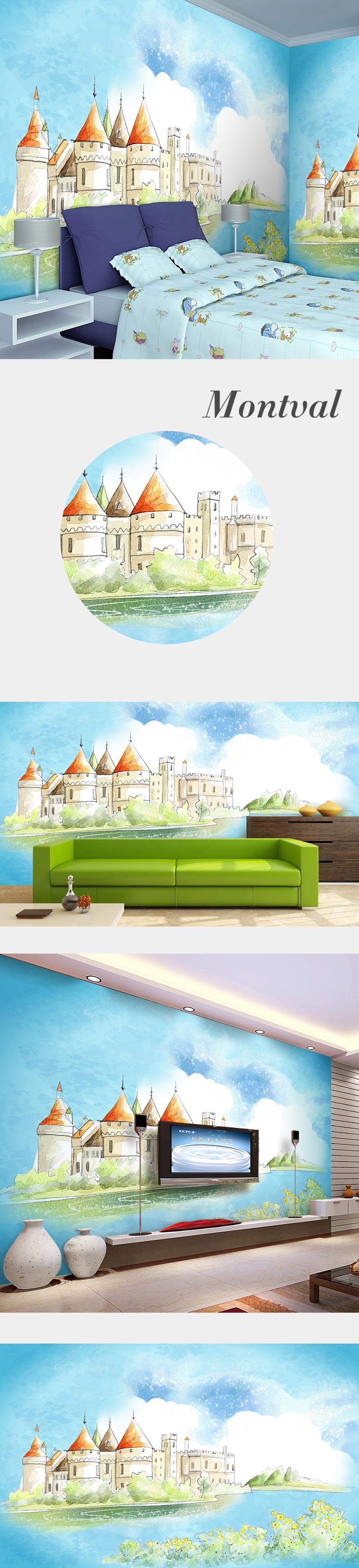 手绘插画儿童房背景墙