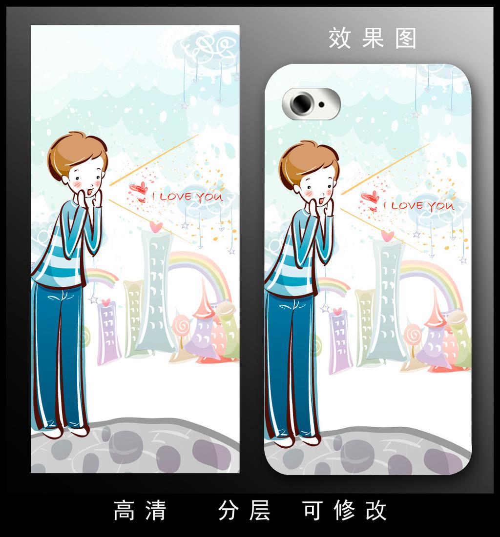 手机壳设计 手机壳图案 梦幻 卡通 动漫 人物 女孩 现代 时尚 手绘 抽