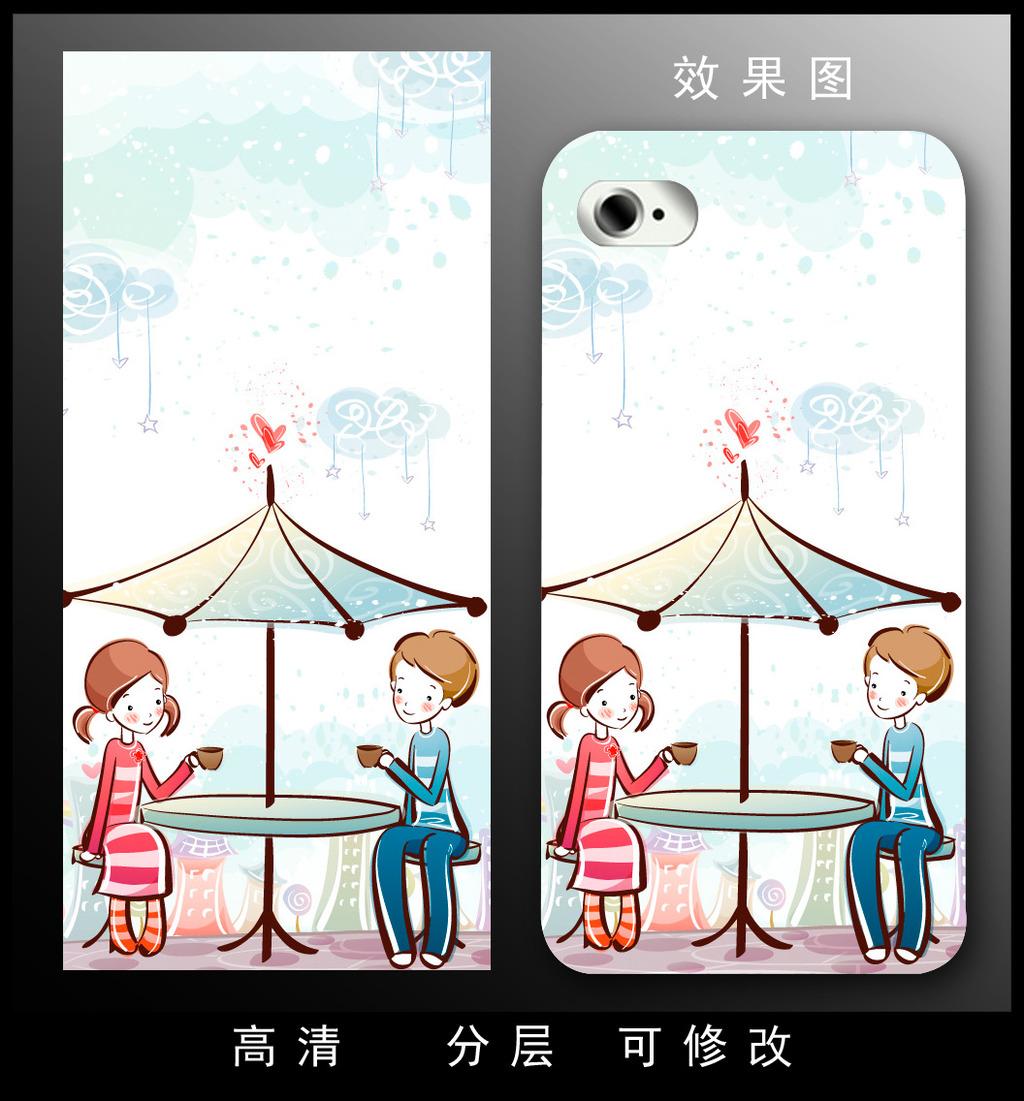 手机套 手机壳图案 梦幻 卡通 动漫 人物 女孩 现代 时尚 手绘 抽象