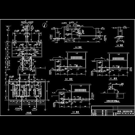 cad图库 室内设计cad图库 cad图纸 > 清水池,自用水泵房工艺图(一)