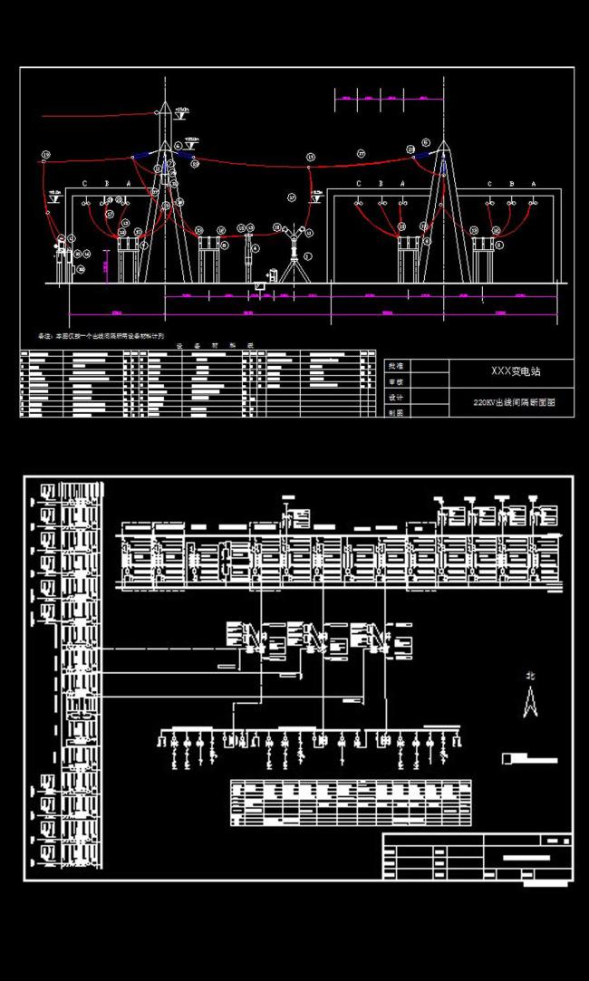 220kv变电站设计cad图纸