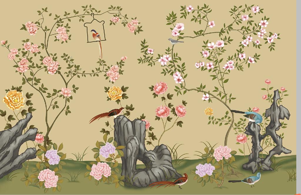 绘花鸟手绘壁画花鸟图