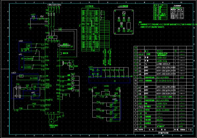 变频器控制原理图cad图纸