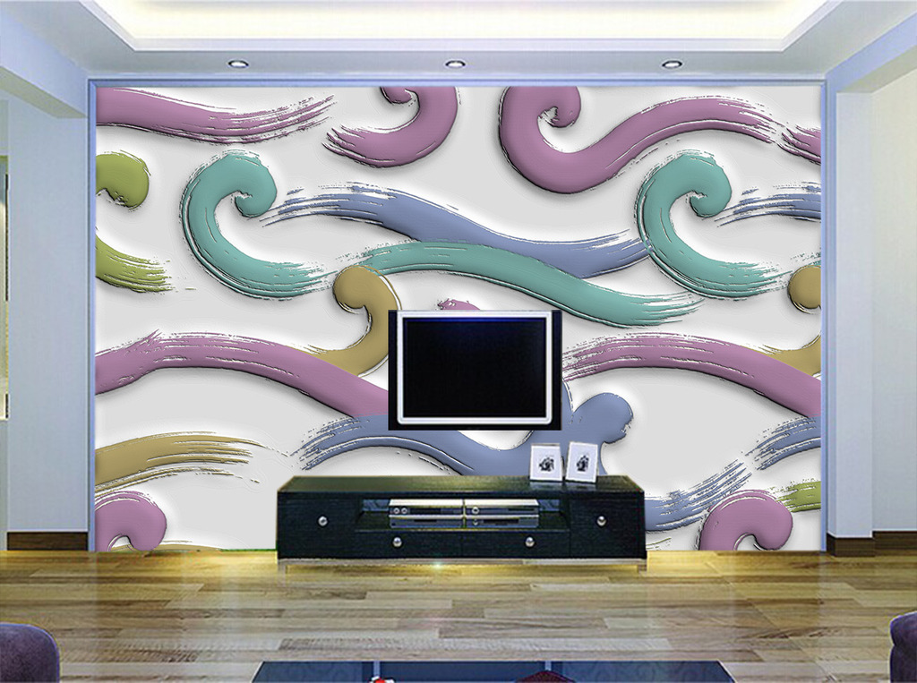 现代时尚硅藻泥手绘背景墙