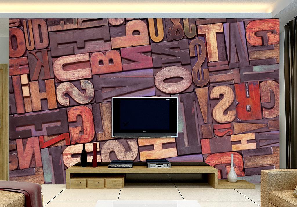 现代木雕浮雕英文字母电视背景墙设计