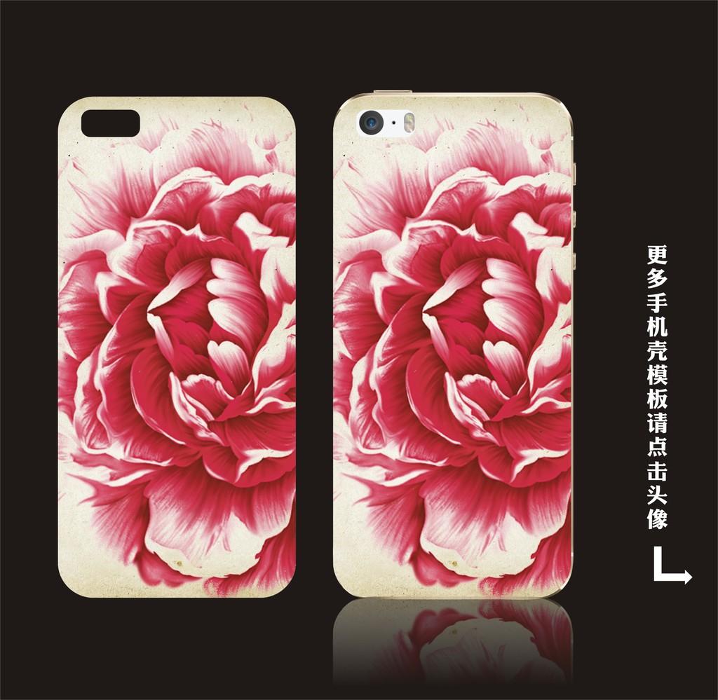 手绘花朵手机壳模板设计
