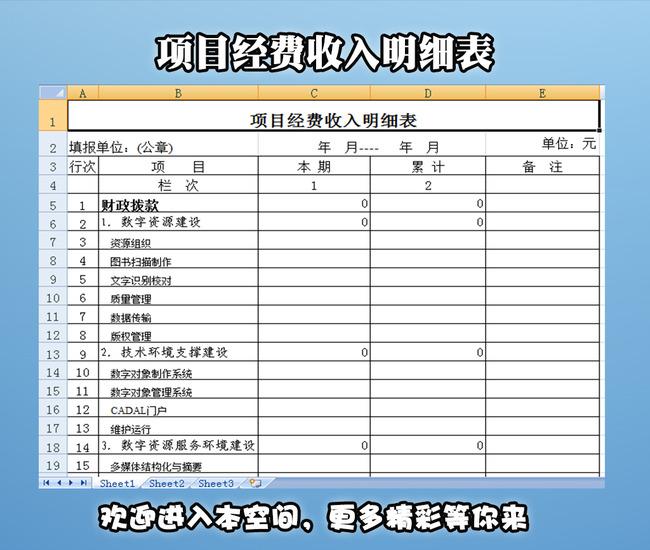 项目经费 收入明细表模板下载 12260