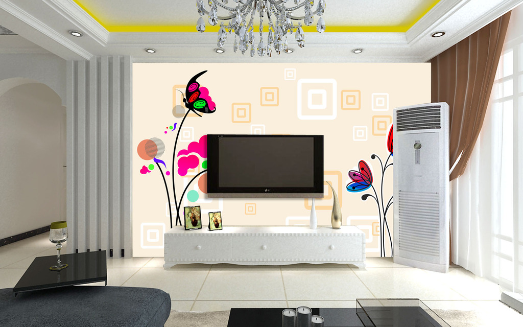 室内设计电视背景墙手绘图分享展示