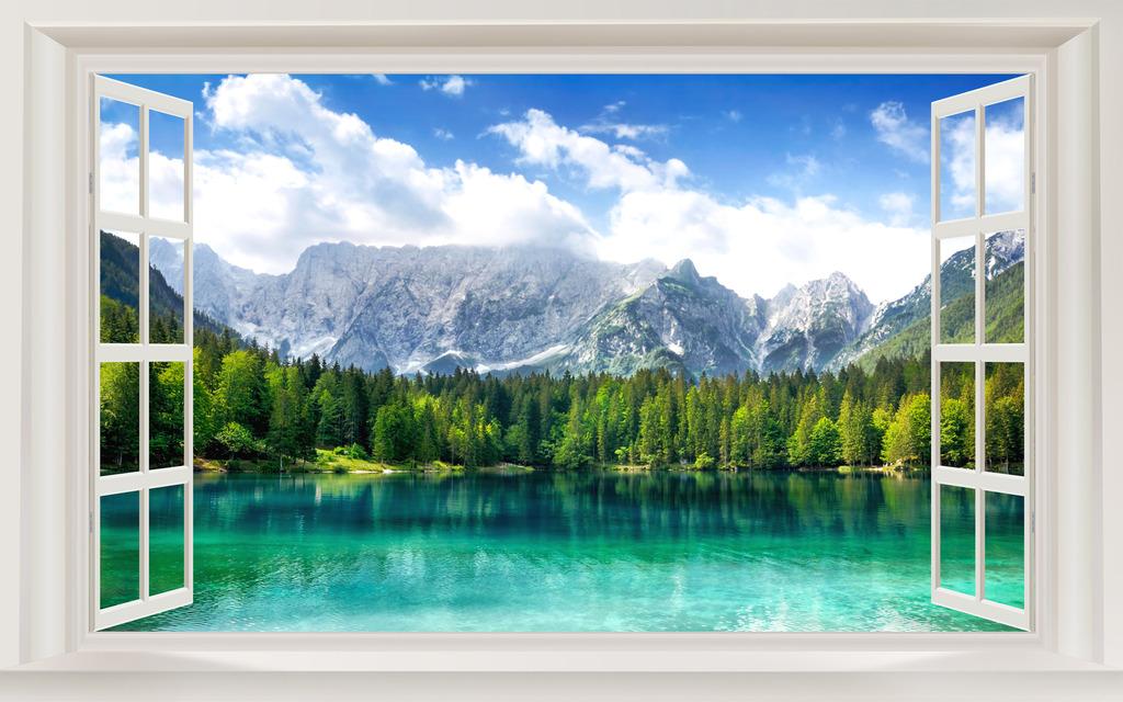 3d窗外山水风景电视背景墙图片