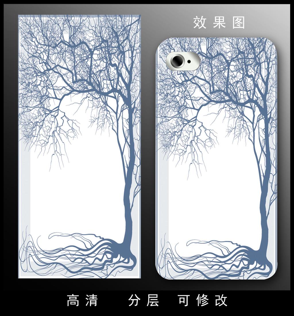 手机 素描/[版权图片]简洁时尚素描大树手机壳设计