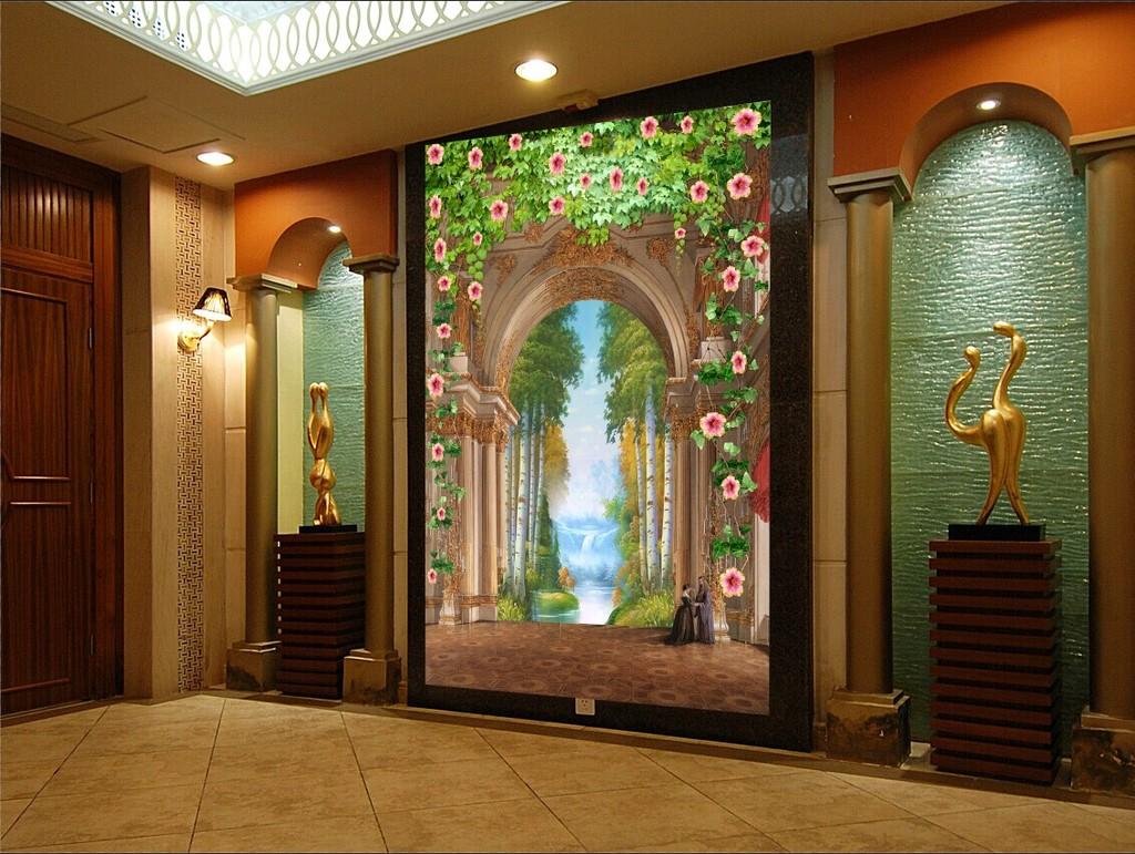 高清3d欧式山水玄关背景墙图片