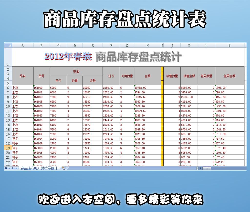 商品库存盘点统计表模板下载