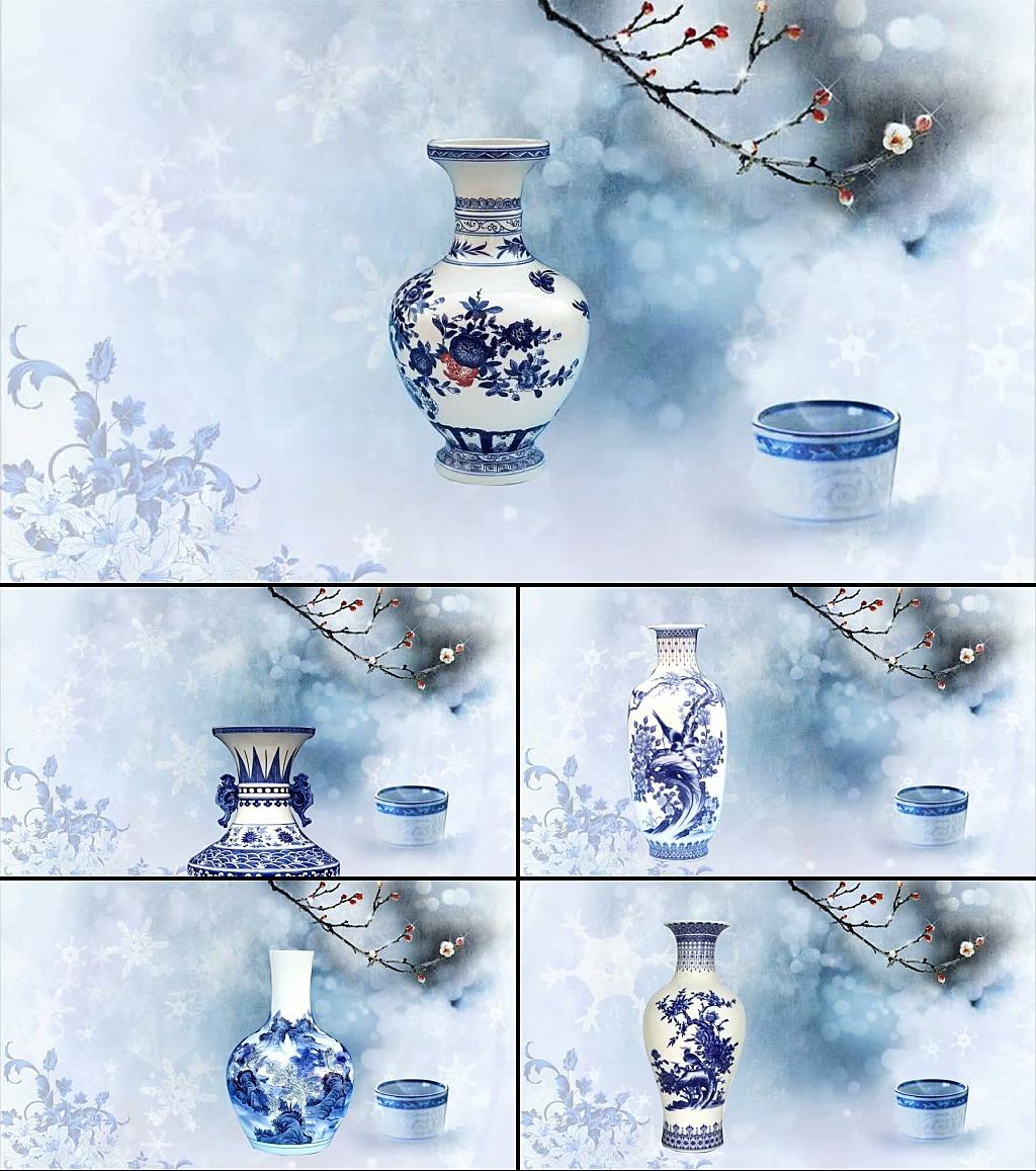 青花瓷古典扇子戏曲歌舞大屏幕背景视频