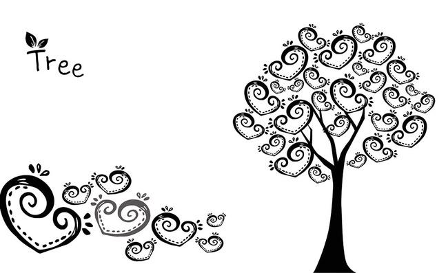 发财树摇钱树爱心手绘电视沙发客厅背景墙