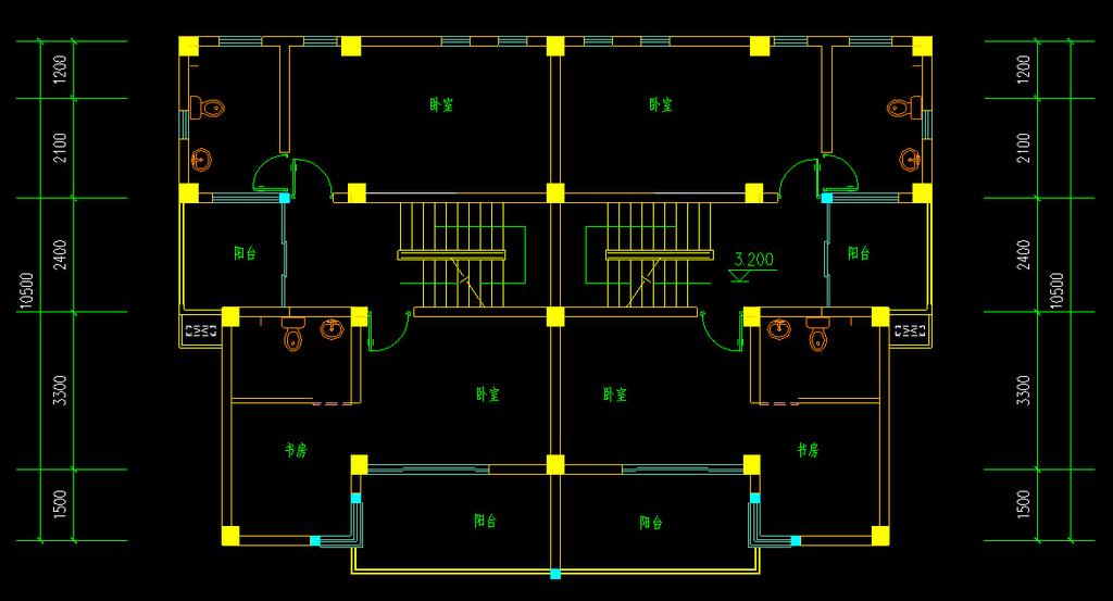 别墅布局施工图cad图纸模板下载(图片编号:12266393)