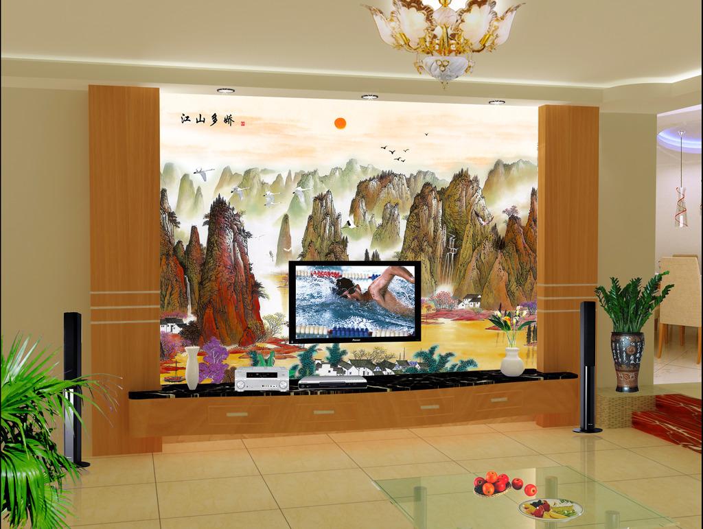 江山美如画客厅电视背景墙中国风山水图画