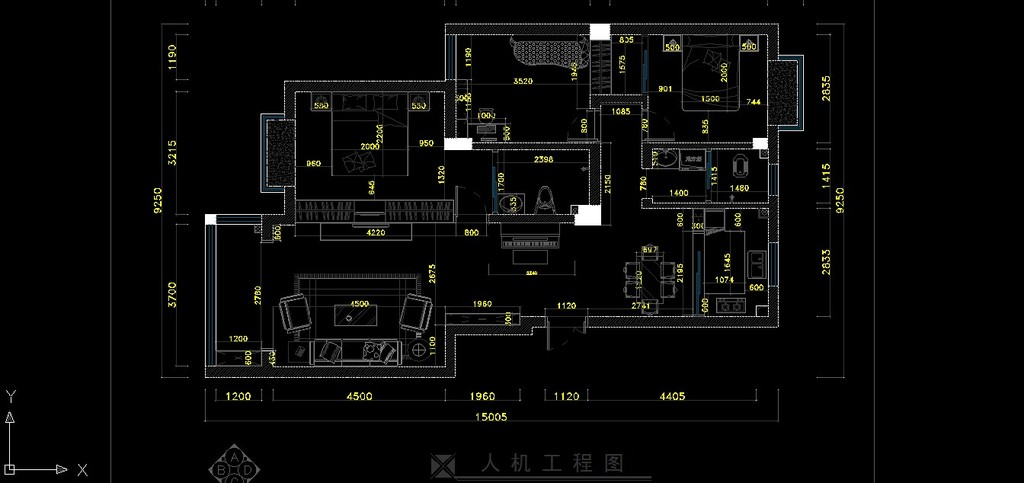 小户型家装室内装修cad施工设计图纸