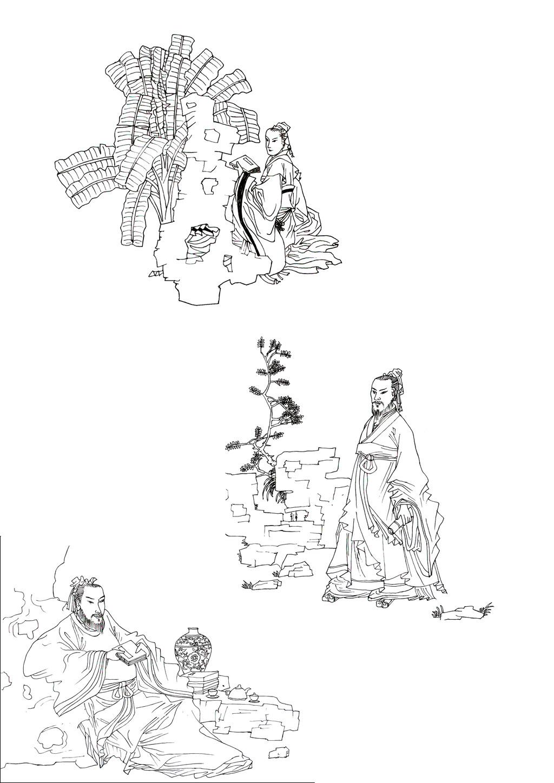 线描白描古代人物