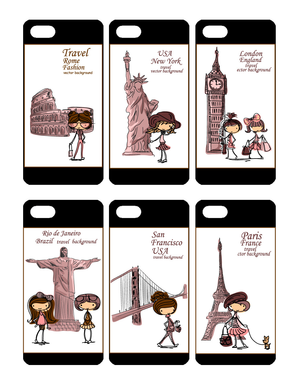 可爱卡通女孩手机壳图案设计