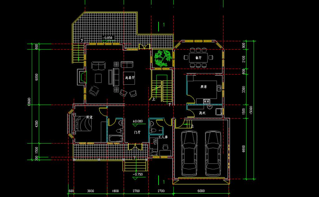 别墅布局方案图cad图纸模板下载(图片编号:12269586)