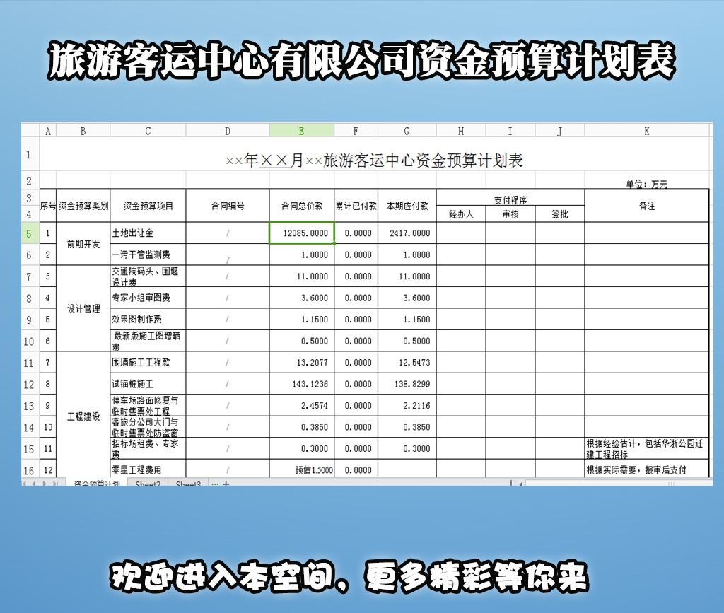 办公|ppt模板 excel模板 财务报表 > 旅游客运中心有限公司资金预算