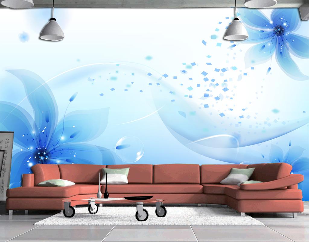 梦幻花卉电视背景墙壁画