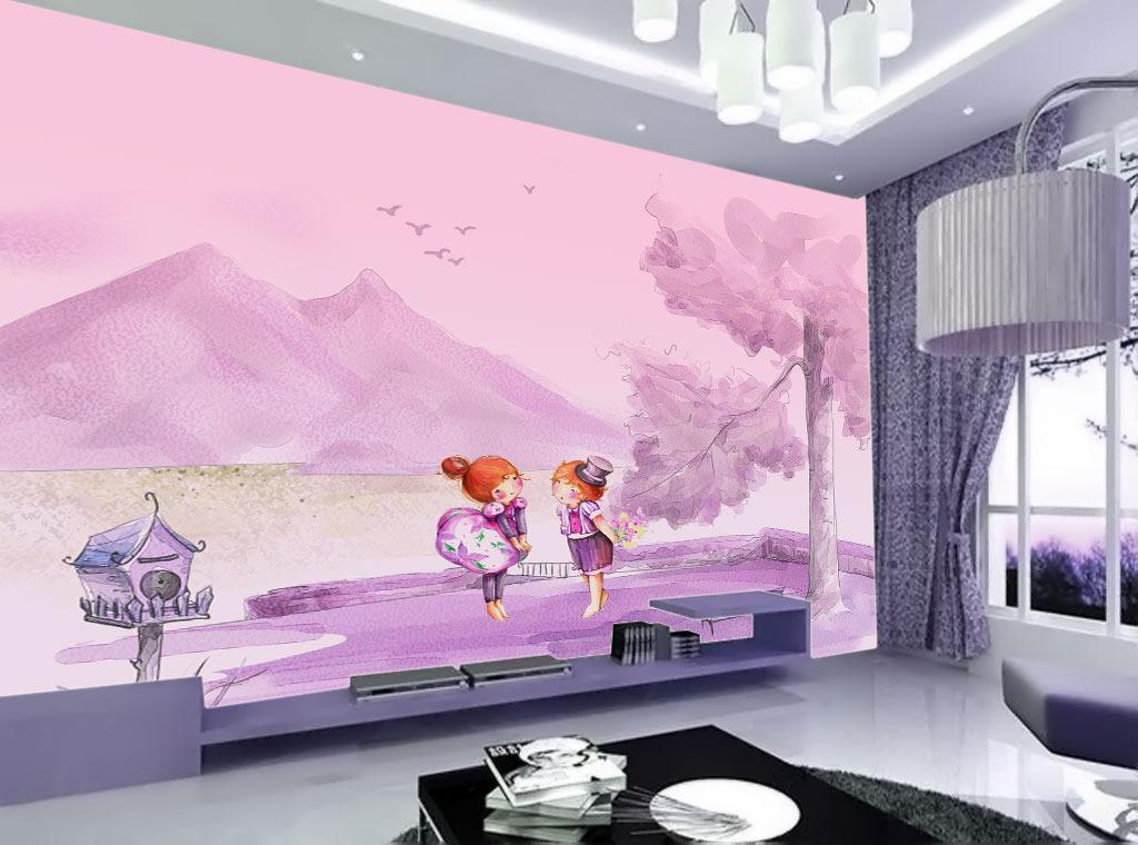 卡通人物手绘风景电视背景墙