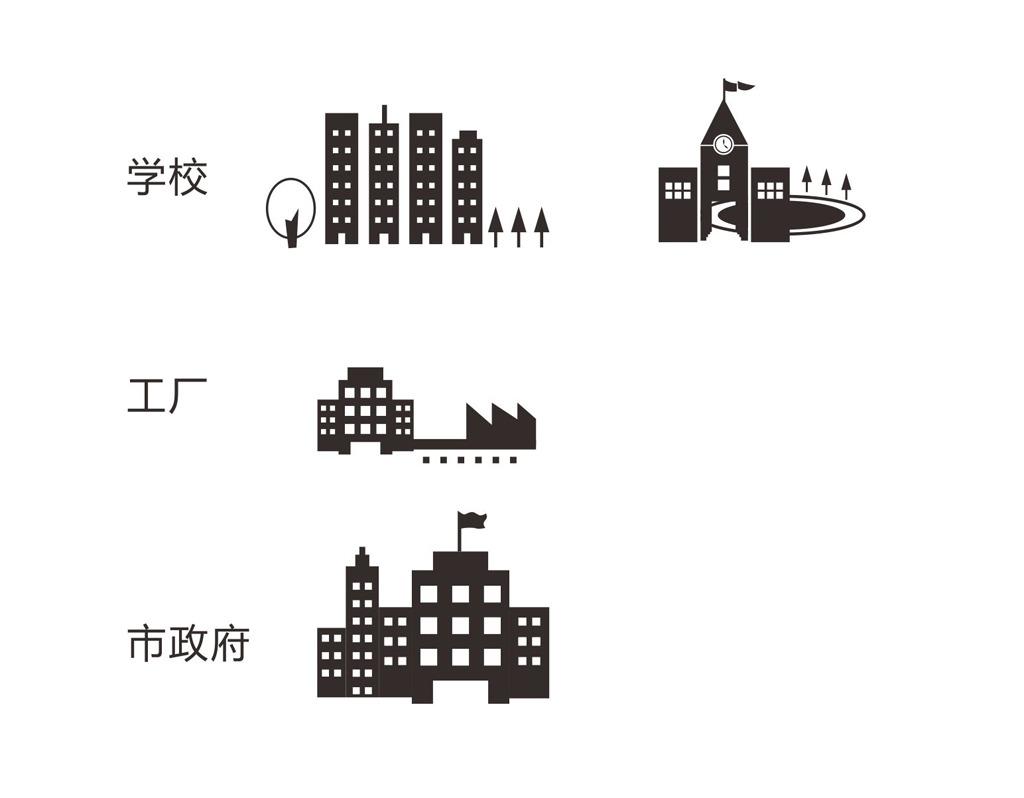 学校工厂市政府用电端矢量图