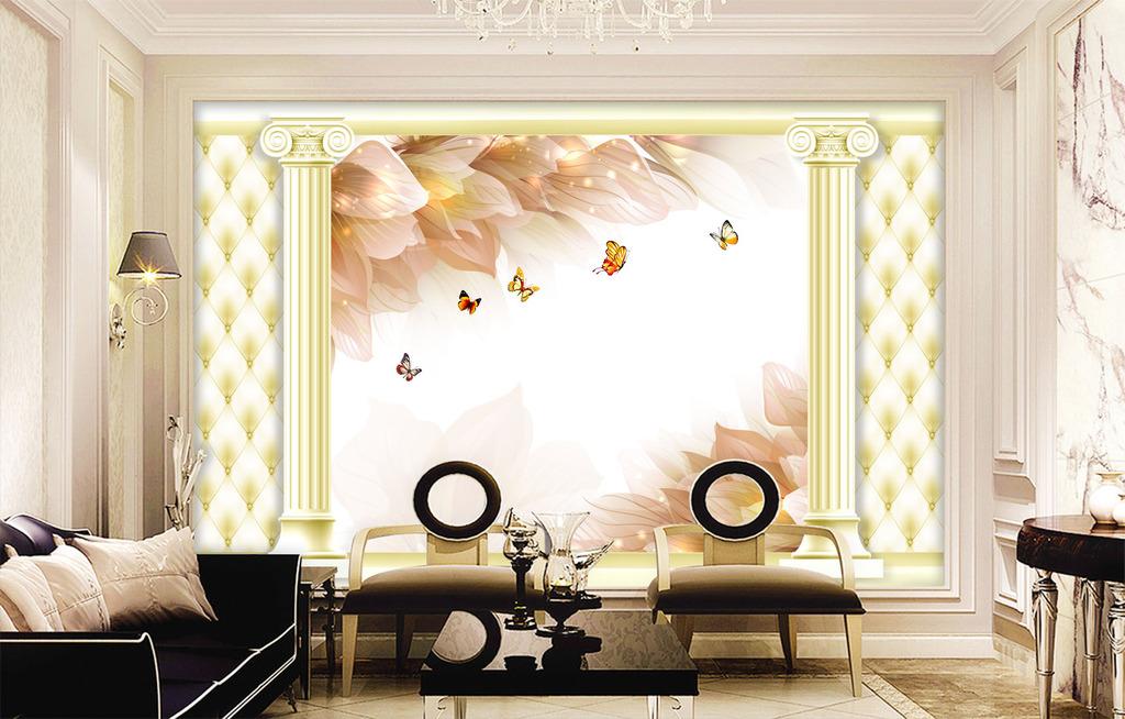 客厅电视背景墙 > 立体建筑软包花卉电视背景墙壁画