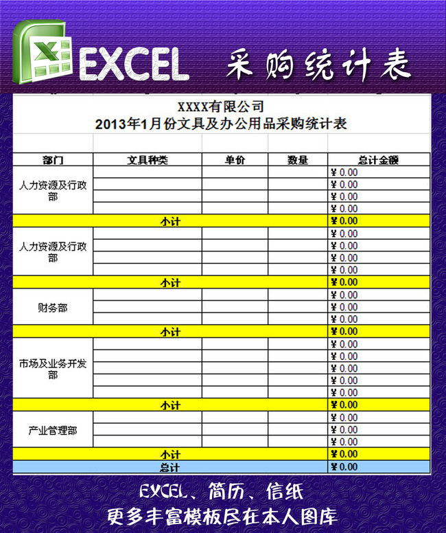 xls格式 会计报表 会计作账 报价单模板 公司财务清单 五金采购