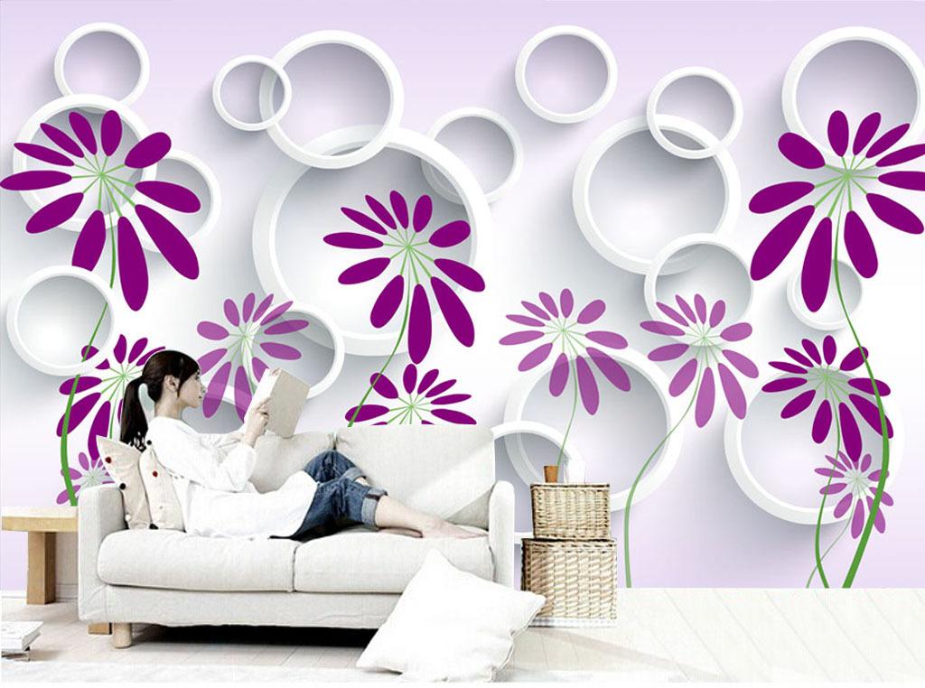 简约大方浪漫手绘花朵电视背景墙